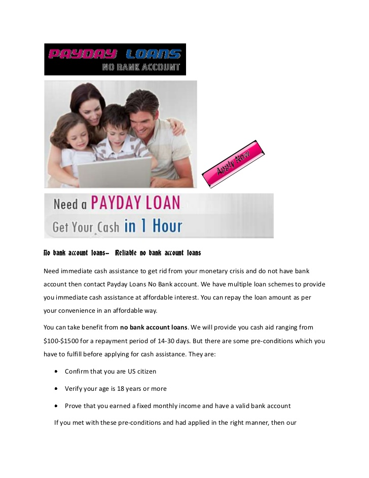 Payday loans with no bank account